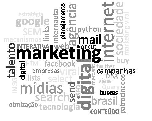 Marketing Online - Imagem com palavras sobre marketing digital